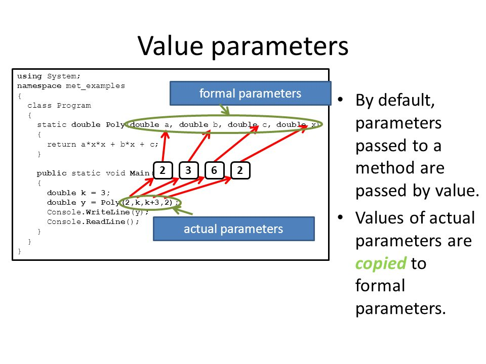 Value parameters By default, parameters passed to a method are passed by value.