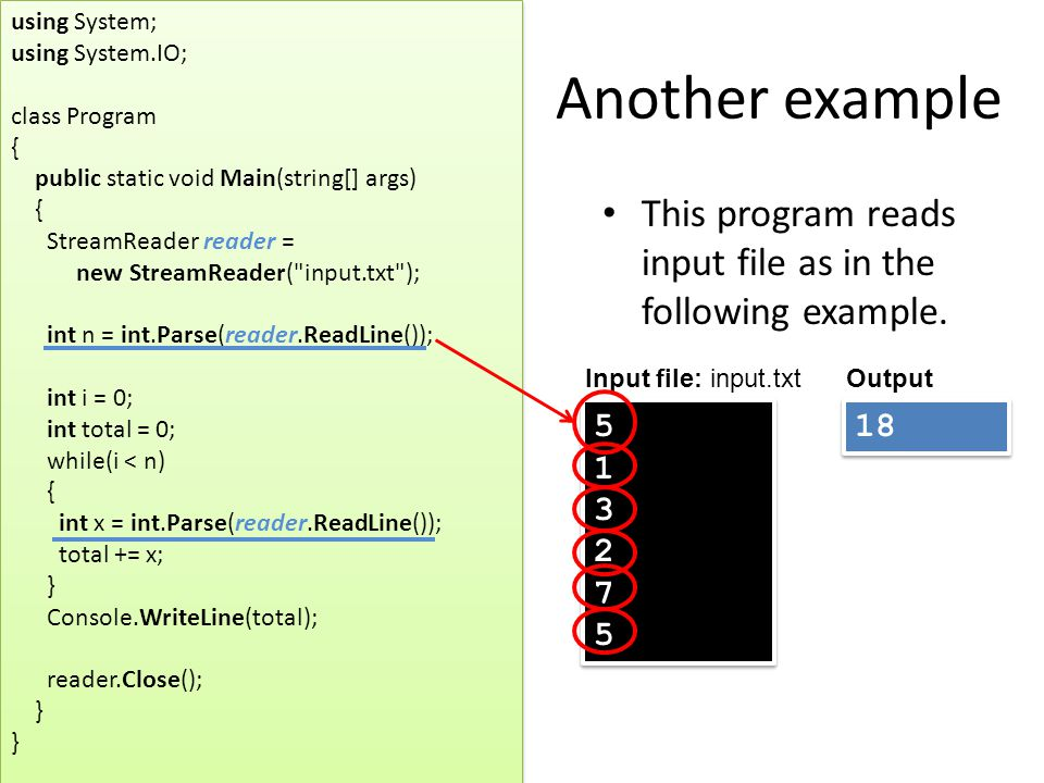 Another example This program reads input file as in the following example.