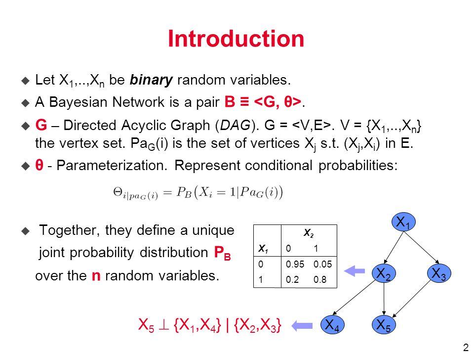 2  Let X 1,..,X n be binary random variables.  A Bayesian Network is a pair B ≡.