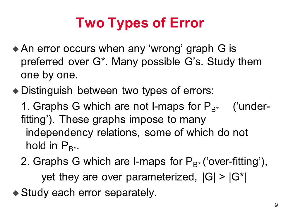 9 Two Types of Error  An error occurs when any 'wrong' graph G is preferred over G*.