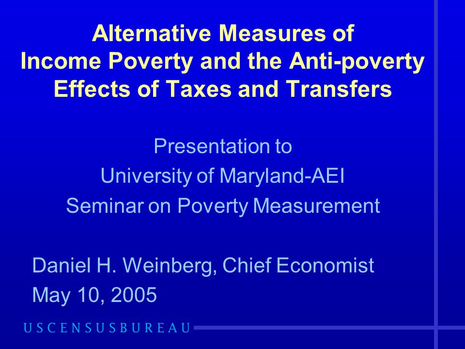 12 Percent in Poverty : 2002 Money Income Measures for Families & Households Threshold and Inflation Adjustment Money income Pre-transfer, pre-tax Pre-transfer, pre-tax +HE* Family Measures Official-CPI 12.1 3 parameter-CPI 12.0 3 parameter-RS 10.0 Household Measures Official-CPI 10.5 3 parameter-CPI 10.6 3 parameter-RS 8.6 HE*=imputed return to home equity