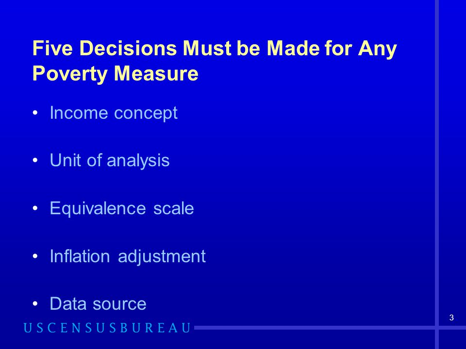 14 Measuring the Distributional Effect: The Poverty Shares Change Index Example: People in poverty in California Official measure: 4.605 of 34.570 million (13.32%) Pre-transfer pre-tax income including imputed return to home equity, for people in households, using the 3- parameter thresholds adjusted for inflation using the CPI- U-RS [PreT+HE*-H-3p-RS] measure: 3.305 of 24.418 million (13.54%)  Ratio=13.54/13.32=poverty shares change index of 101.6 Interpretation: People in poverty in California are a larger percentage of all those in poverty when the PreT+HE*-H-3p-RS measure is used than when the official poverty measure is used (their share is 1.6% larger)