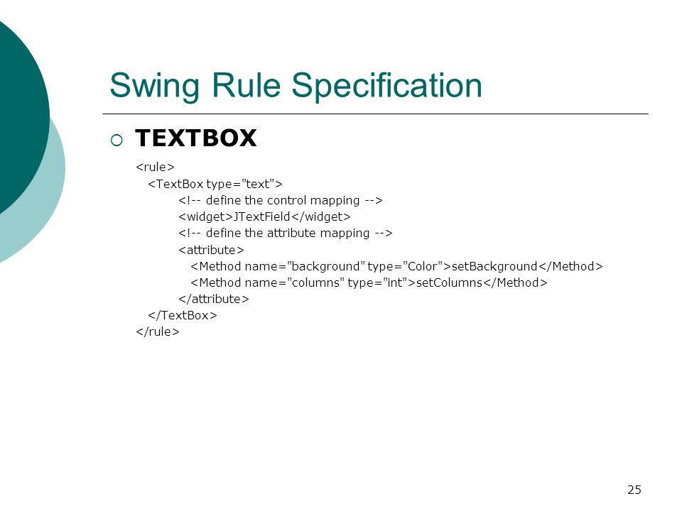 25 Swing Rule Specification  TEXTBOX JTextField setBackground setColumns