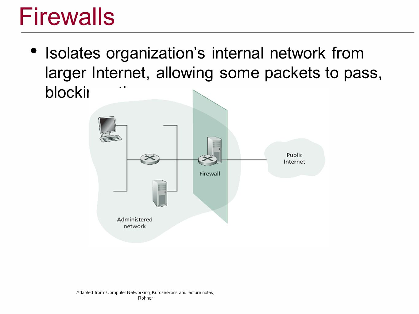 Firewalls Isolates organization's internal network from larger Internet, allowing some packets to pass, blocking others Adapted from: Computer Networking, Kurose/Ross and lecture notes, Rohner