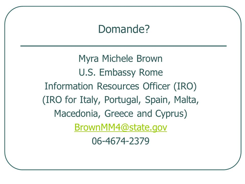 Domande. Myra Michele Brown U.S.