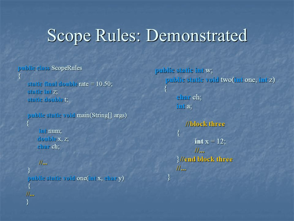 Scope Rules: Demonstrated public class ScopeRules { static final double rate = 10.50; static final double rate = 10.50; static int z; static int z; st