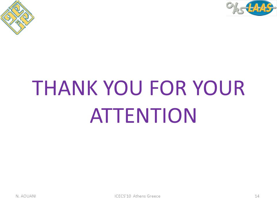 THANK YOU FOR YOUR ATTENTION ICECS'10 Athens GreeceN. AOUANI14
