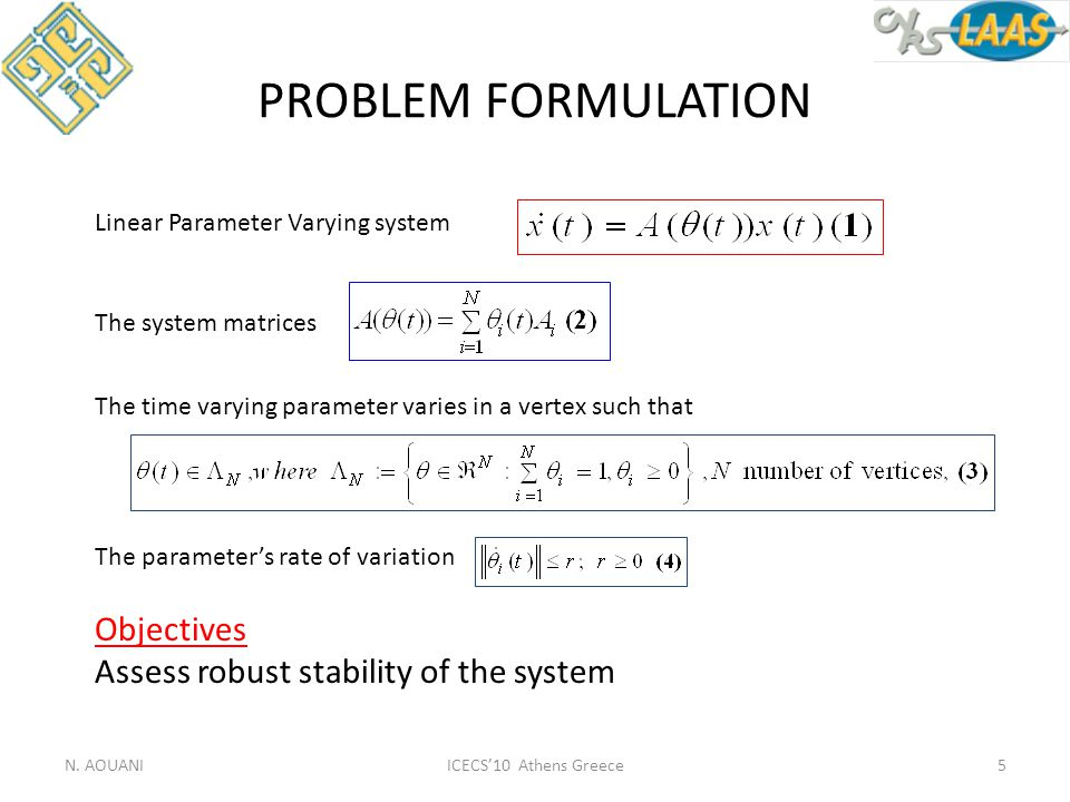 ICECS'10 Athens Greece PROBLEM FORMULATION N. AOUANI5 Linear Parameter Varying system The system matrices The time varying parameter varies in a verte