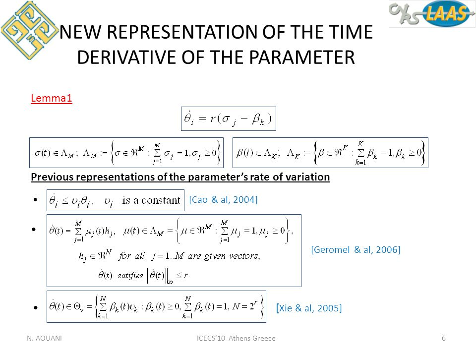 NEW REPRESENTATION OF THE TIME DERIVATIVE OF THE PARAMETER Previous representations of the parameter's rate of variation [Cao & al, 2004] [Geromel & a