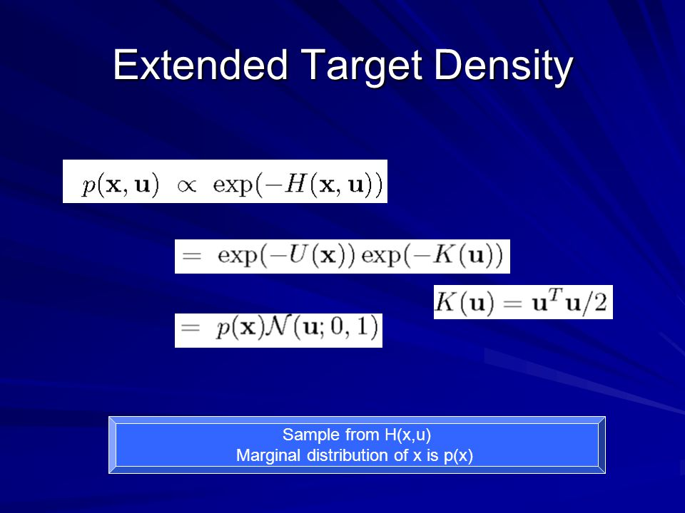 Extended Target Density Sample from H(x,u) Marginal distribution of x is p(x)