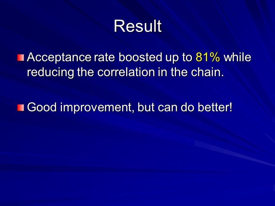 Result Acceptance rate boosted up to 81% while reducing the correlation in the chain. Good improvement, but can do better!