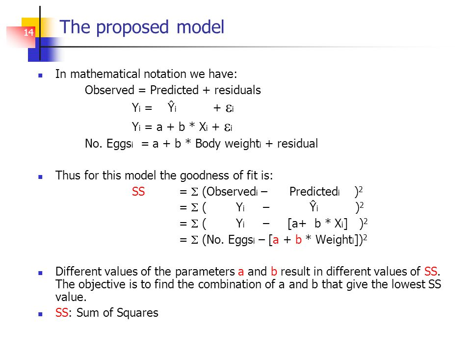 14 The proposed model In mathematical notation we have: Observed = Predicted + residuals Y i = Ŷ i +  i Y i = a + b * X i +  i No.
