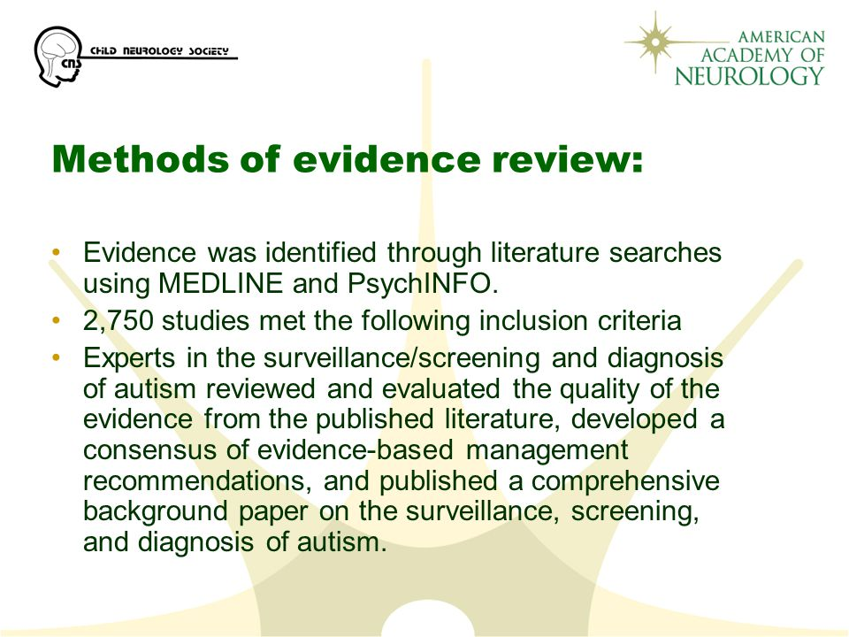 Methods of evidence review: Evidence was identified through literature searches using MEDLINE and PsychINFO.