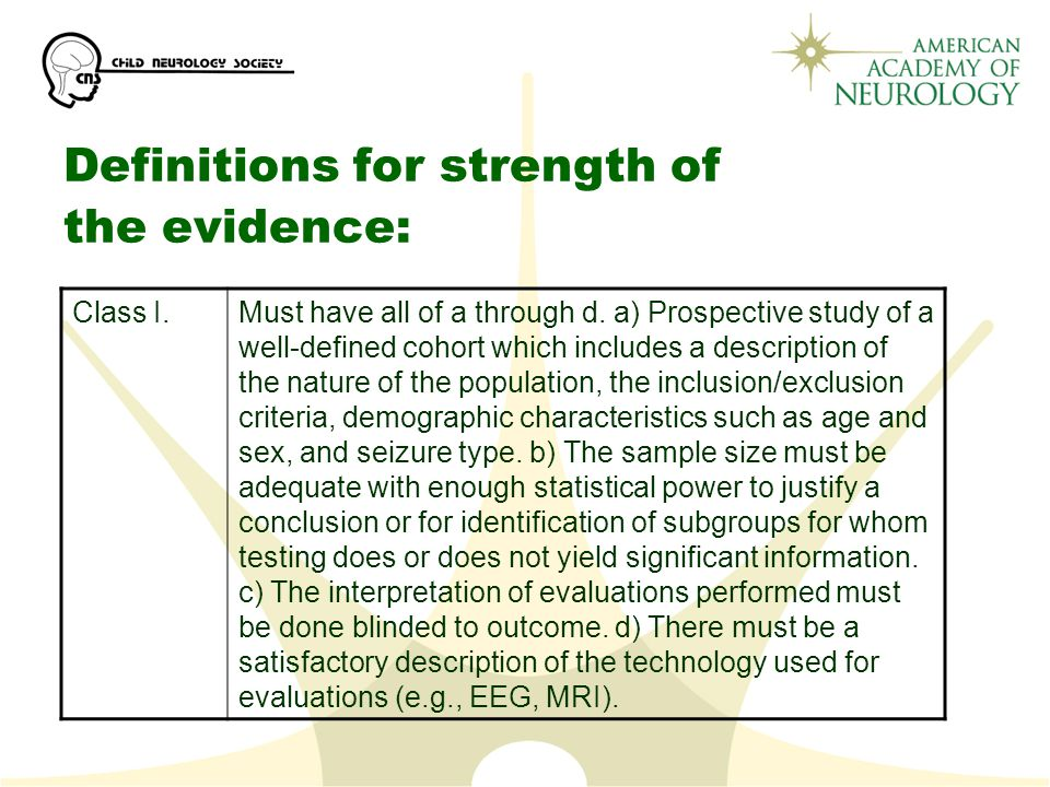 Definitions for strength of the evidence: Class I.Must have all of a through d.
