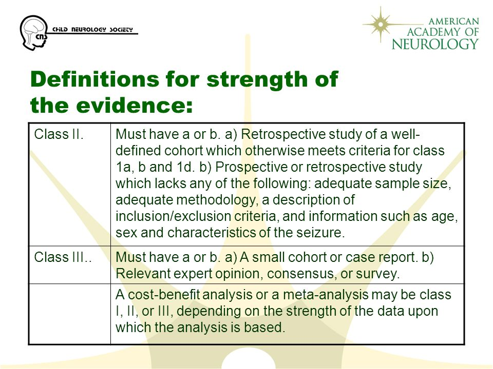 Definitions for strength of the evidence: Class II.Must have a or b.