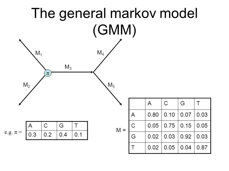 The general markov model (GMM) π M1M1 M2M2 M3M3 M4M4 M5M5 ACGT 0.30.20.40.1 e.g.