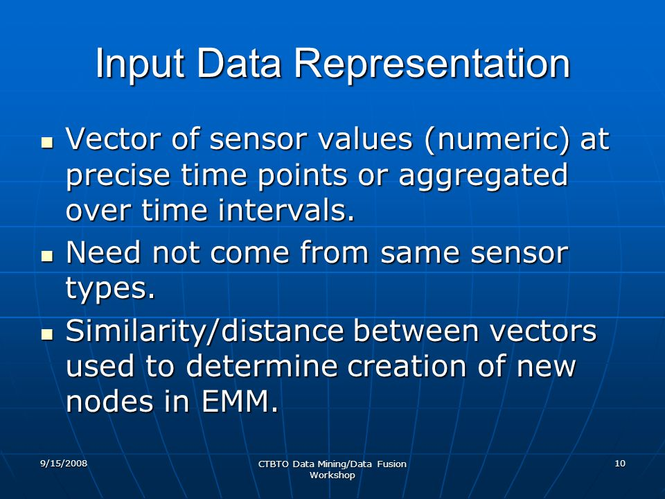 Input Data Representation Vector of sensor values (numeric) at precise time points or aggregated over time intervals. Vector of sensor values (numeric