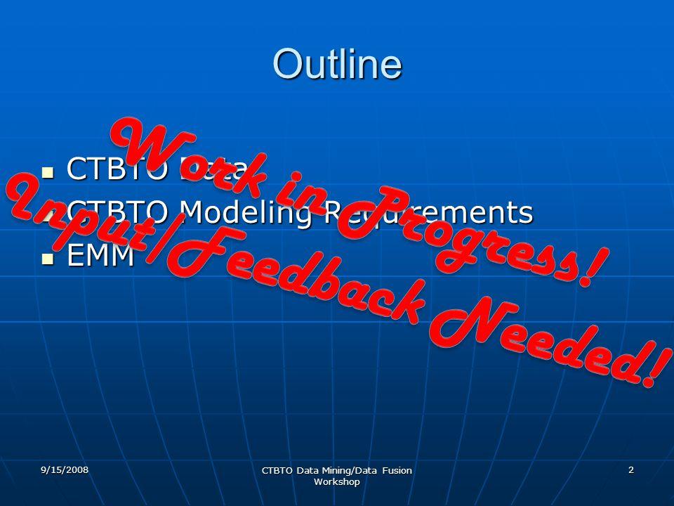 Outline CTBTO Data CTBTO Data CTBTO Modeling Requirements CTBTO Modeling Requirements EMM EMM 9/15/2008 CTBTO Data Mining/Data Fusion Workshop 2