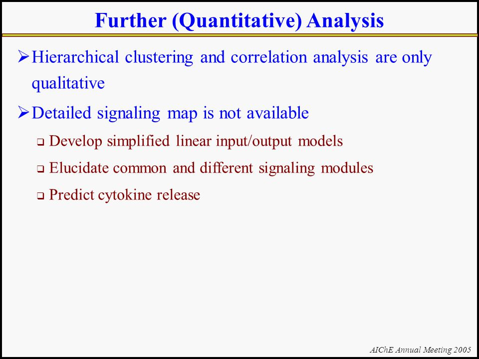 AIChE Annual Meeting 2005 Further (Quantitative) Analysis  Hierarchical clustering and correlation analysis are only qualitative  Detailed signaling map is not available  Develop simplified linear input/output models  Elucidate common and different signaling modules  Predict cytokine release