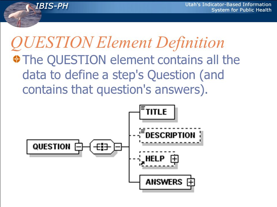 QUESTION Element Definition The QUESTION element contains all the data to define a step s Question (and contains that question s answers).
