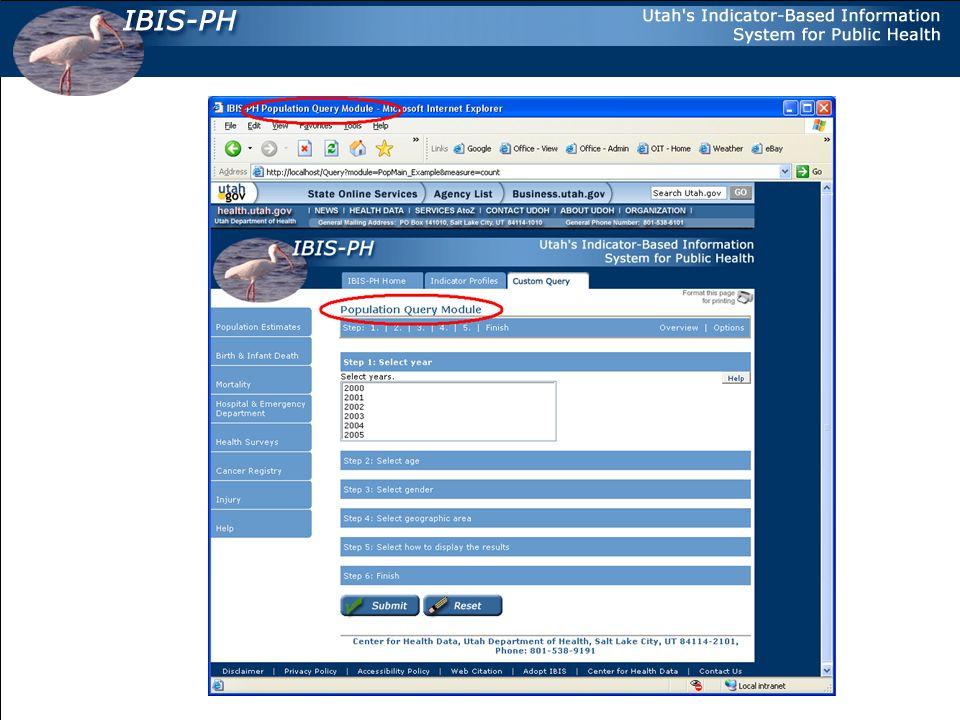 TITLE, DESCRIPTION, KEYWORDS HTML Snippet IBIS-PH Population Query Module