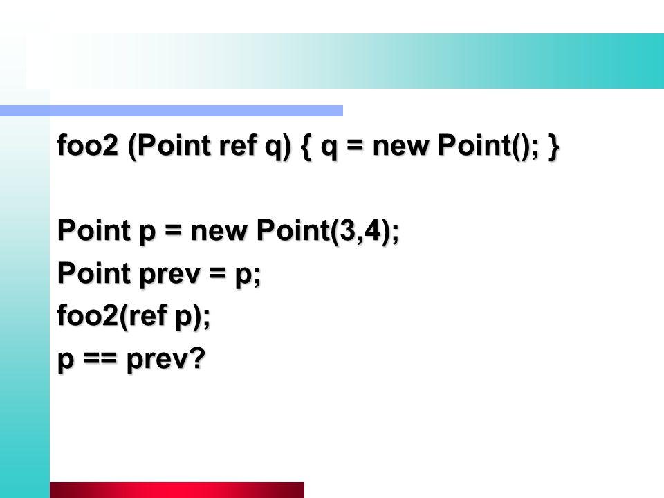 foo2 (Point ref q) { q = new Point(); } Point p = new Point(3,4); Point prev = p; foo2(ref p); p == prev