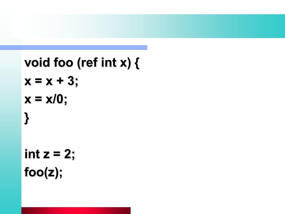 void foo (ref int x) { x = x + 3; x = x/0; } int z = 2; foo(z);