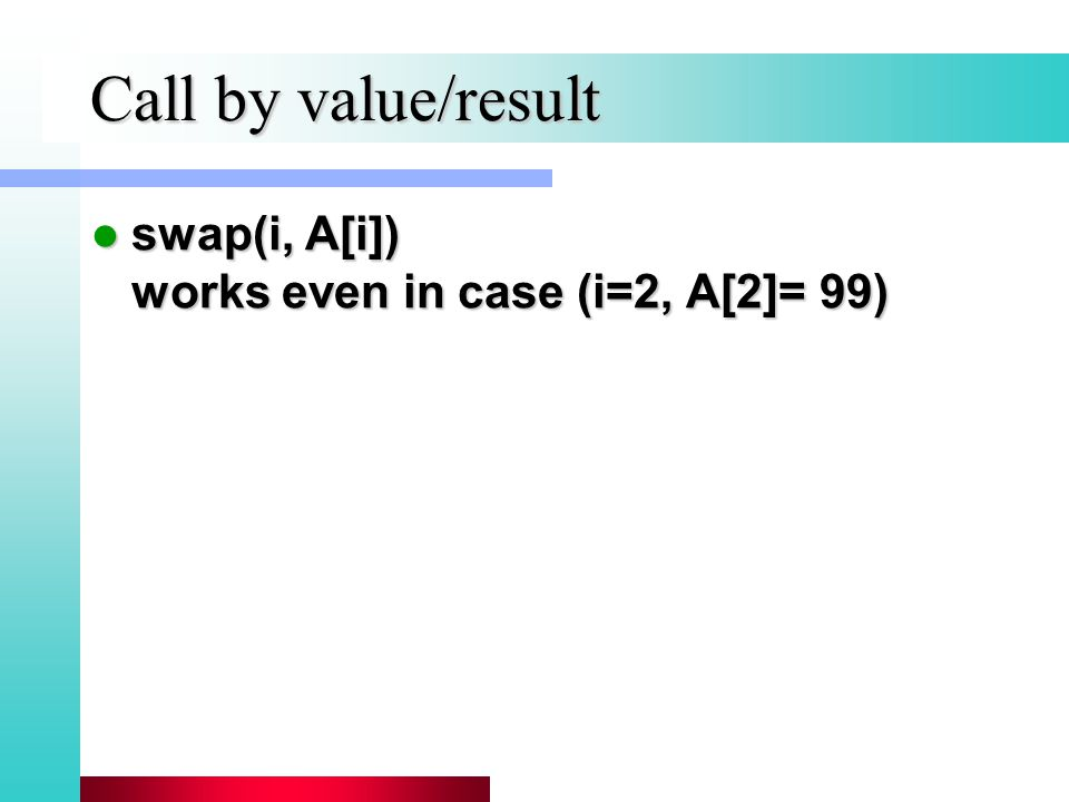 Call by value/result swap(i, A[i]) works even in case (i=2, A[2]= 99) swap(i, A[i]) works even in case (i=2, A[2]= 99)