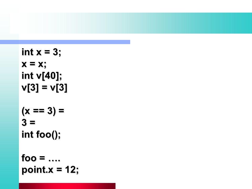 int x = 3; x = x; int v[40]; v[3] = v[3] (x == 3) = 3 = int foo(); foo = …. point.x = 12;