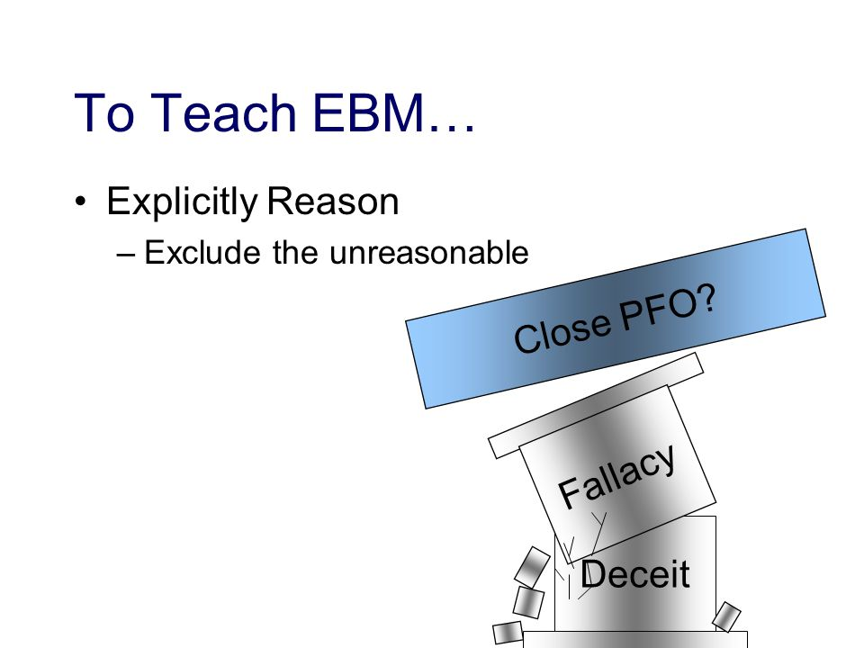 To Teach EBM… Explicitly Reason –Exclude the unreasonable Deceit Close PFO Fallacy