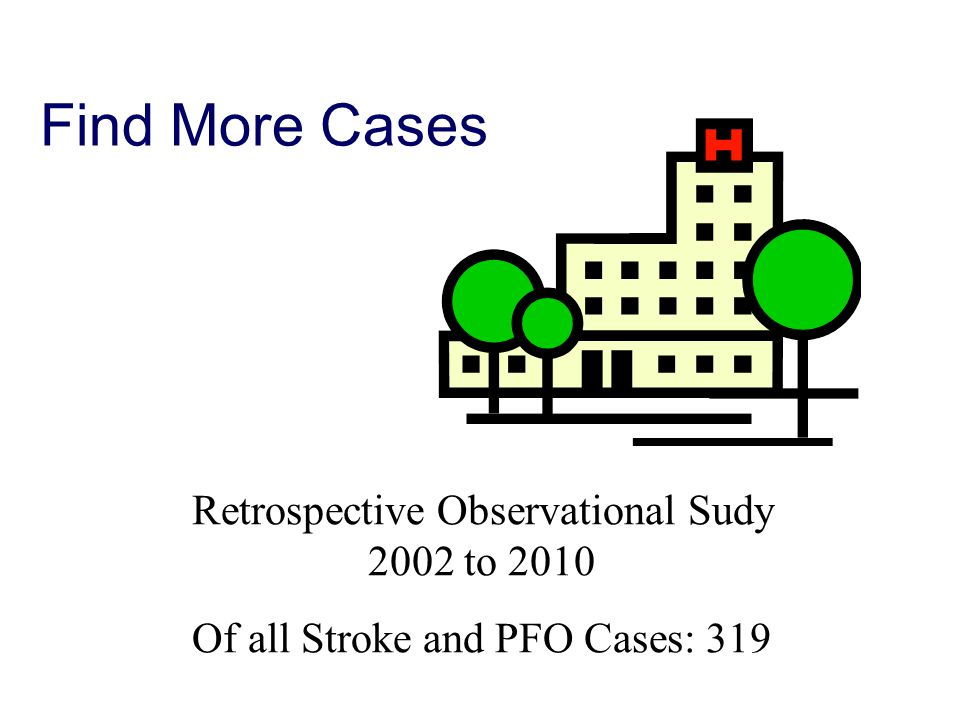 Find More Cases Retrospective Observational Sudy 2002 to 2010 Of all Stroke and PFO Cases: 319