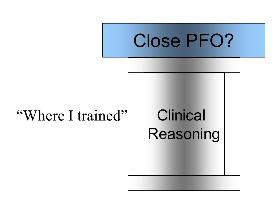 Clinical Reasoning Close PFO Where I trained