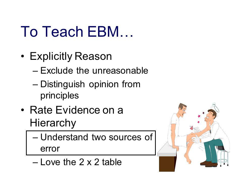 To Teach EBM… Explicitly Reason –Exclude the unreasonable –Distinguish opinion from principles Rate Evidence on a Hierarchy –Understand two sources of error –Love the 2 x 2 table