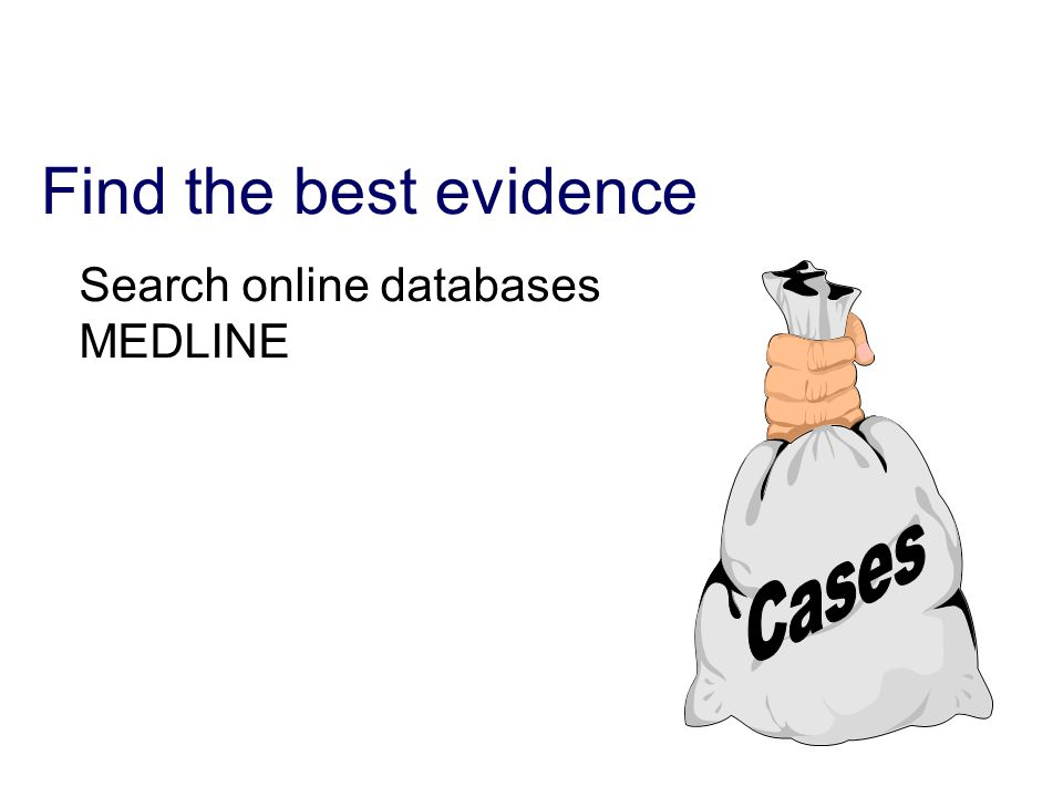 Find the best evidence Search online databases MEDLINE
