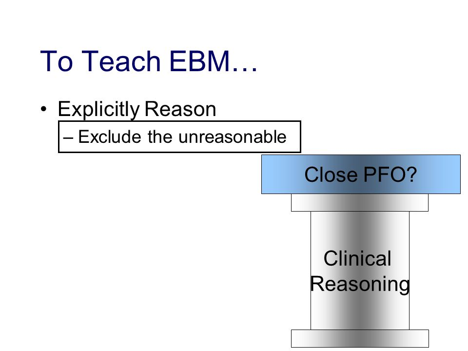 To Teach EBM… Explicitly Reason –Exclude the unreasonable Clinical Reasoning Close PFO
