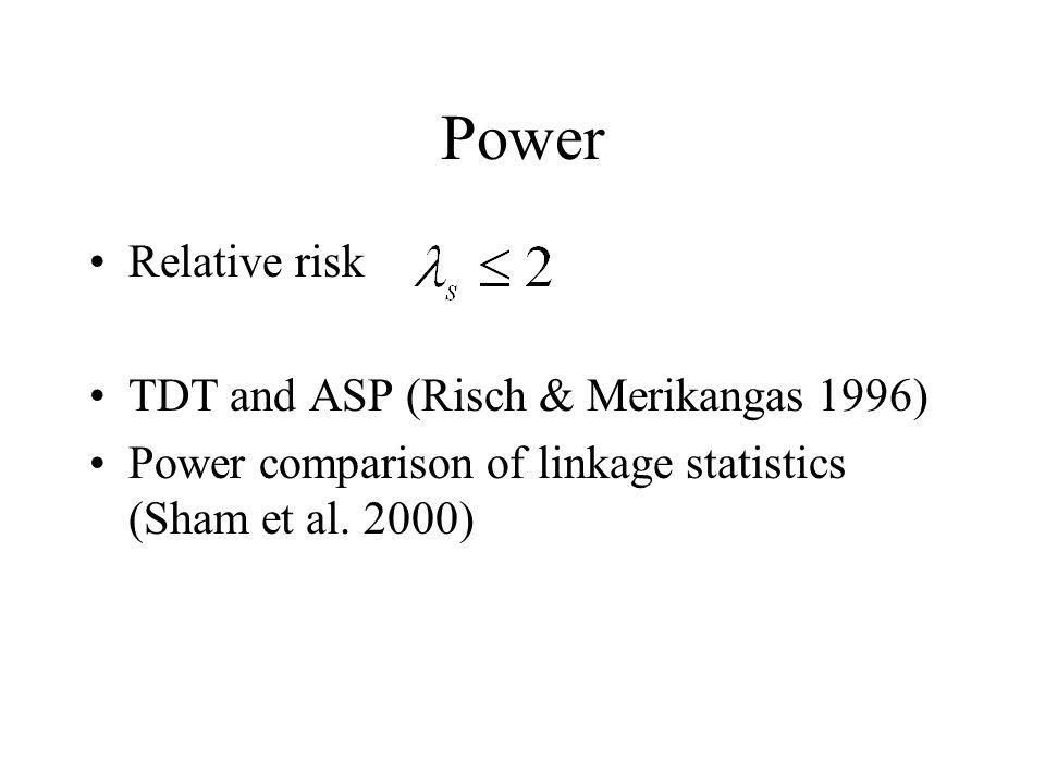 Power Relative risk TDT and ASP (Risch & Merikangas 1996) Power comparison of linkage statistics (Sham et al. 2000)