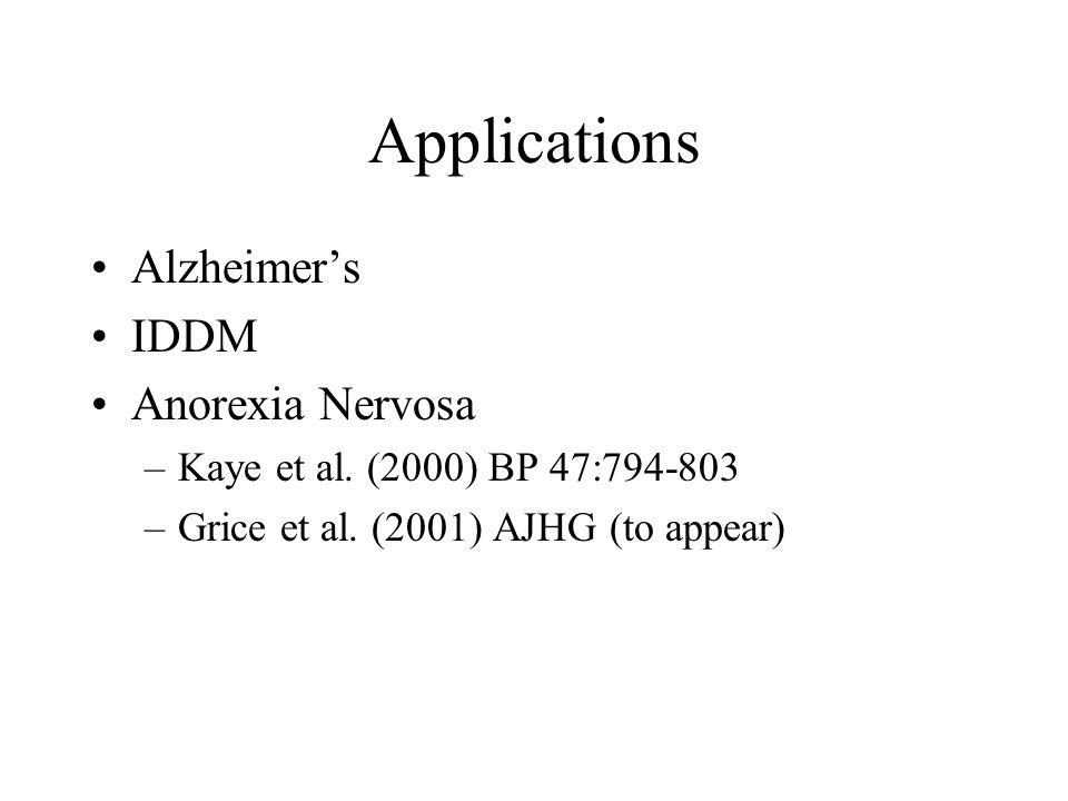 Applications Alzheimer's IDDM Anorexia Nervosa –Kaye et al. (2000) BP 47:794-803 –Grice et al. (2001) AJHG (to appear)