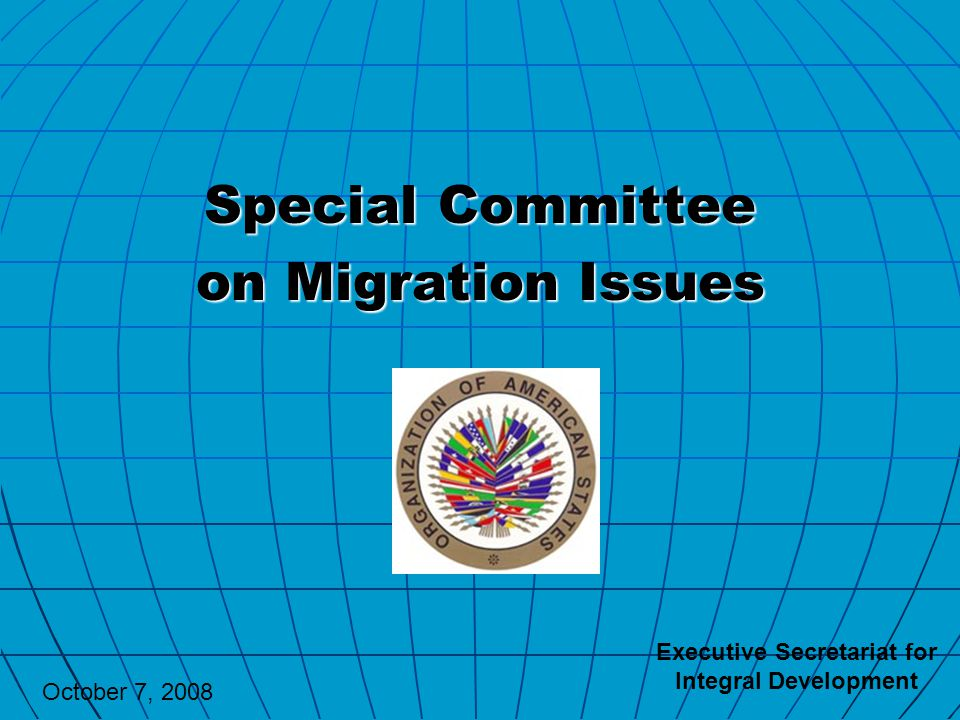 Special Committee on Migration Issues Executive Secretariat for Integral Development October 7, 2008