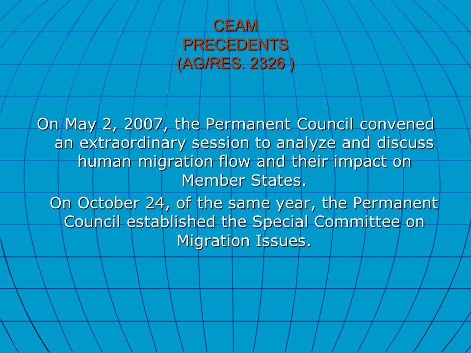 CEAM PRECEDENTS (AG/RES.
