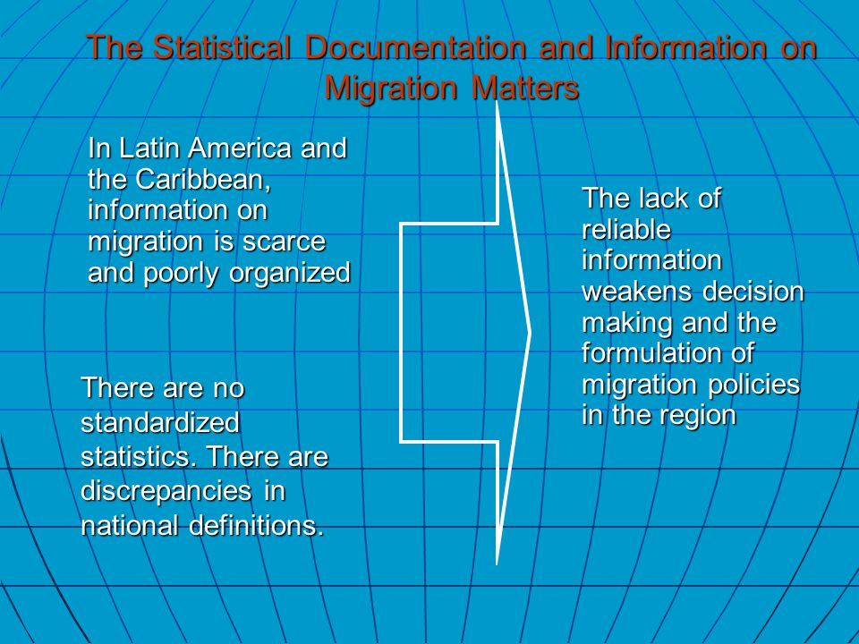 In Latin America and the Caribbean, information on migration is scarce and poorly organized There are no standardized statistics.