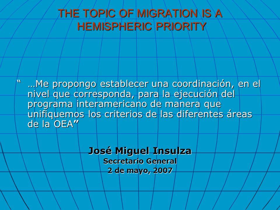 THE TOPIC OF MIGRATION IS A HEMISPHERIC PRIORITY …Me propongo establecer una coordinación, en el nivel que corresponda, para la ejecución del programa interamericano de manera que unifiquemos los criterios de las diferentes áreas de la OEA José Miguel Insulza Secretario General 2 de mayo, 2007