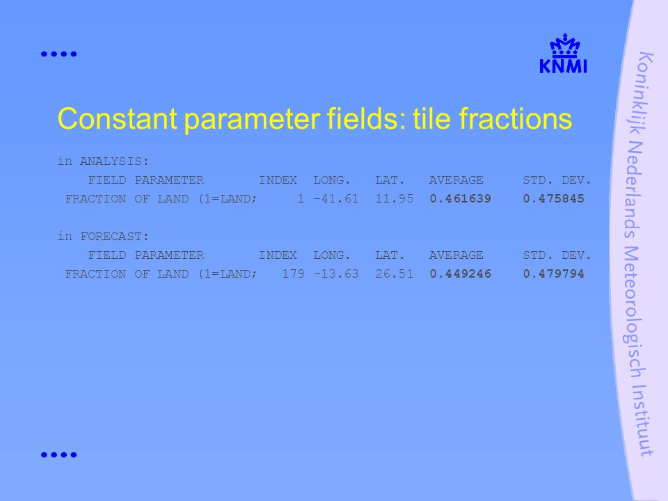 Constant parameter fields: tile fractions in ANALYSIS: FIELD PARAMETER INDEX LONG.