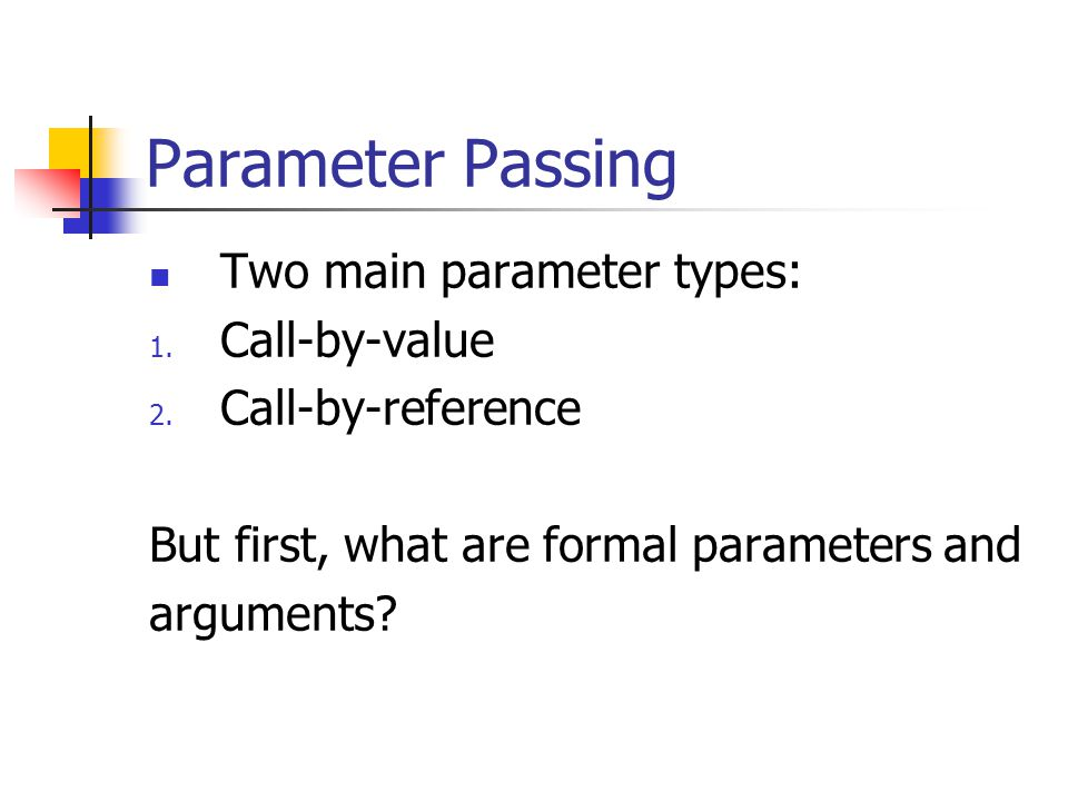 Formal Parameter: a kind of blank space holder that is filled in with something when the function is called.