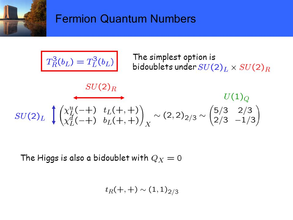 Fermion Quantum Numbers The simplest option is bidoublets under The Higgs is also a bidoublet with