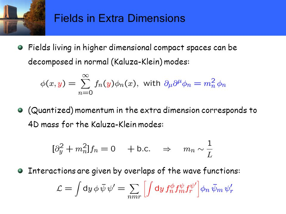 Fields in Extra Dimensions Fields living in higher dimensional compact spaces can be decomposed in normal (Kaluza-Klein) modes: (Quantized) momentum in the extra dimension corresponds to 4D mass for the Kaluza-Klein modes: Interactions are given by overlaps of the wave functions: