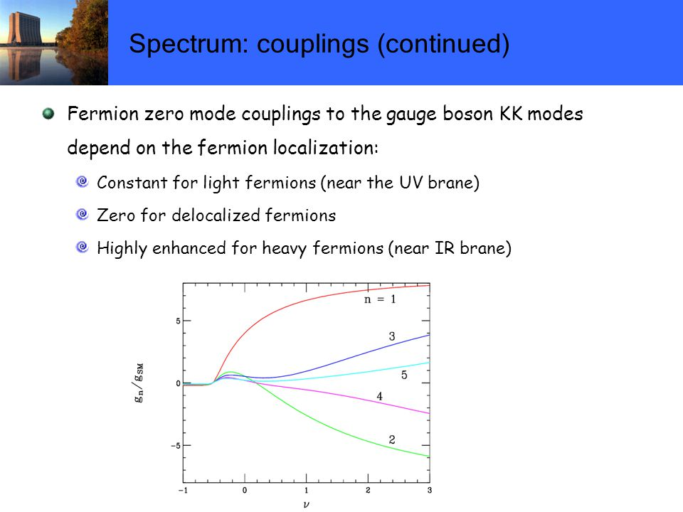 Spectrum: couplings (continued) Fermion zero mode couplings to the gauge boson KK modes depend on the fermion localization: Constant for light fermions (near the UV brane) Zero for delocalized fermions Highly enhanced for heavy fermions (near IR brane)