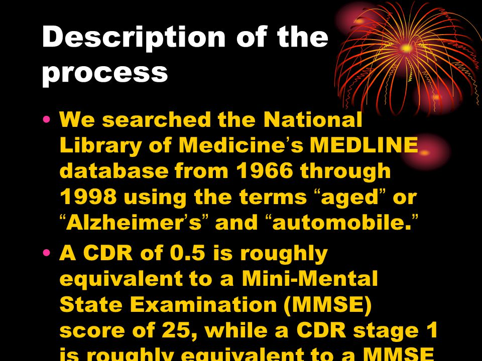 Description of the process We searched the National Library of Medicine ' s MEDLINE database from 1966 through 1998 using the terms aged or Alzheimer ' s and automobile.