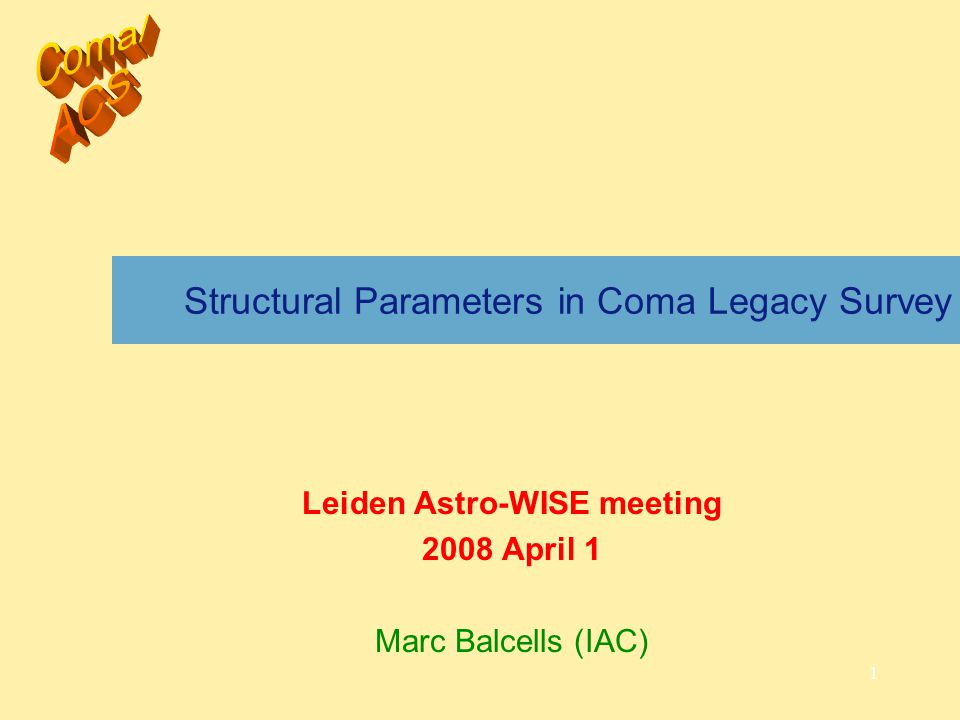 2 Topics 1.Coma ACS structural analysis plan 2.Results to date 1.Sextractor photometric errors: realistic estimates 2.Structural parameter errors 1.Comparison GALFIT vs GIM2D Usefulness of Astro-WISE