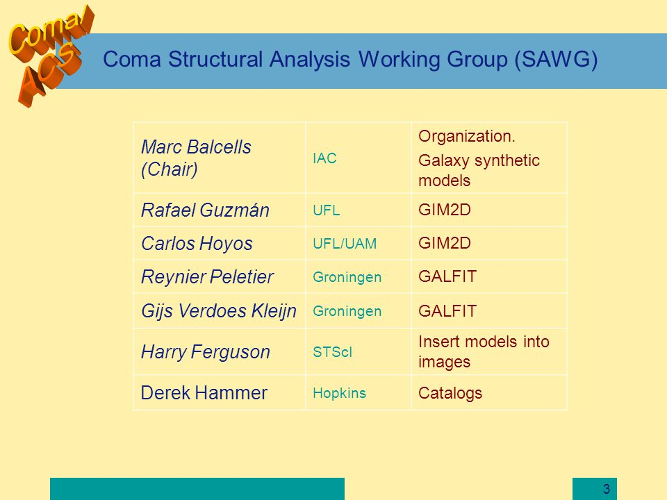 4 SAWG mission Provide photometry and structural parameters of given catalogs Input: catalogs provided by Catalogs Team SAWG contribution to catalog generation: 1.Subtracting bright galaxies 2.Detection efficiency.