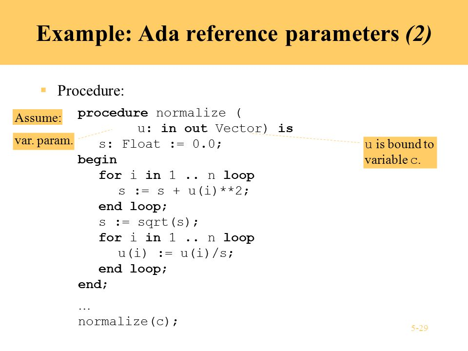 5-29 Example: Ada reference parameters (2)  Procedure: procedure normalize ( u: in out Vector) is s: Float := 0.0; begin for i in 1..